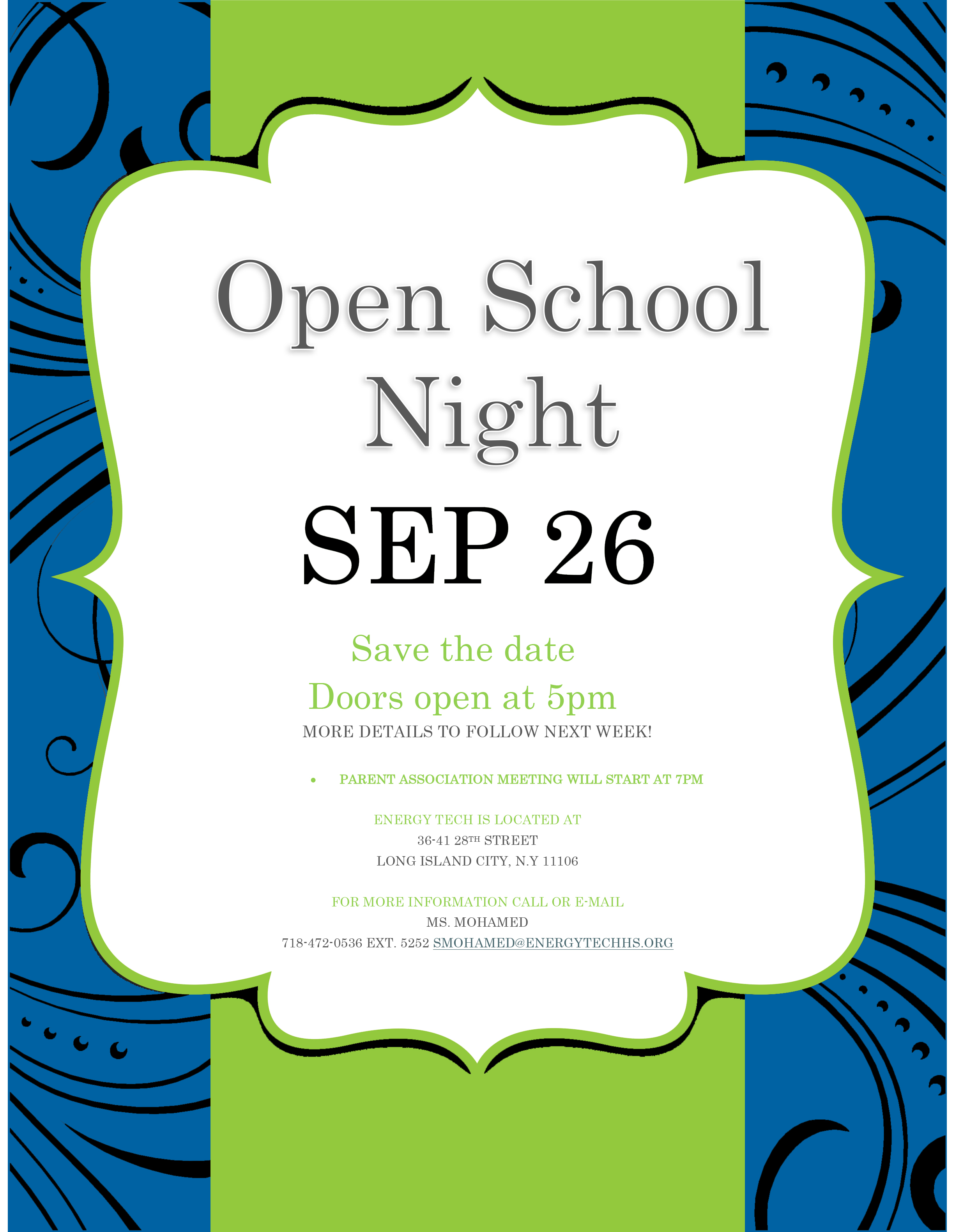 Open School Night - September 26